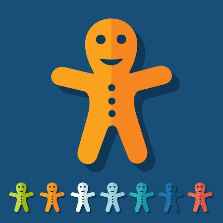 gingerbread man: Flat design: gingerbread man