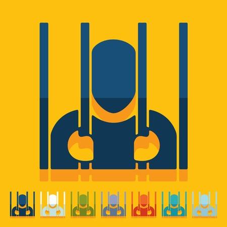 consequence: Flat design: prisoner Illustration