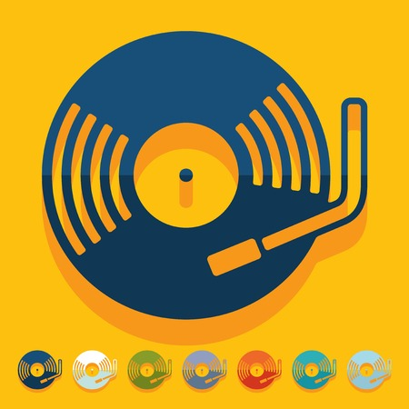 chanson: Flat design: turntable Illustration