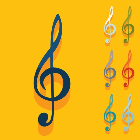 treble clef: Flat design: treble clef