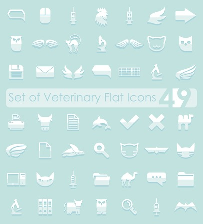 set design: Set of veterinary flat icons