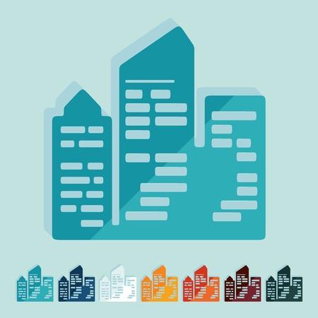 небоскребы: Плоский дизайн: город небоскребов