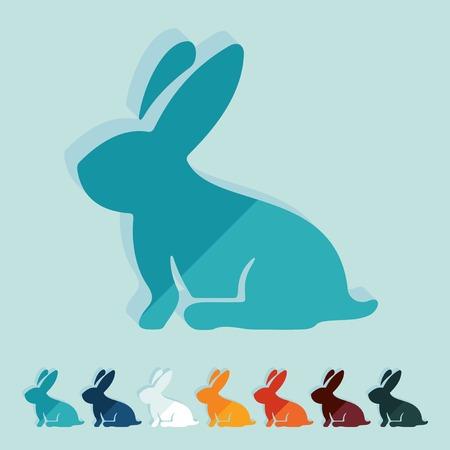 conejo pascua: Dise�o plano: Conejo de Pascua Vectores