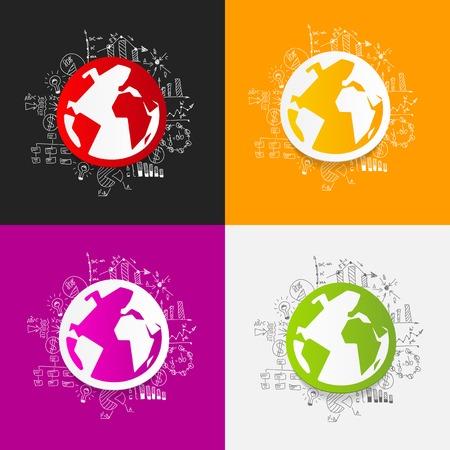 international students: Drawing business formulas: globe