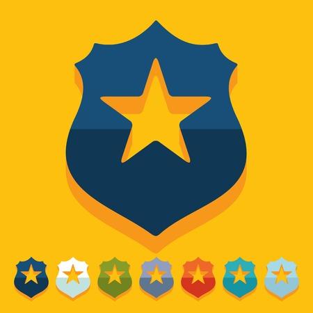 officier de police: Design plat: insigne de police
