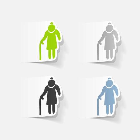 happy old age: realistic design element: grandma