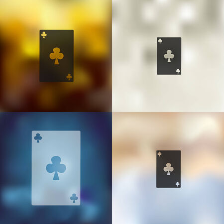 playing card: playing card icon on blurred background Illustration