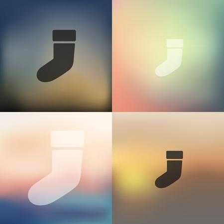 christmas sock: christmas sock icon on blurred background Illustration