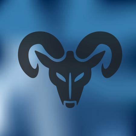 carnero: jefe del icono de carnero en el fondo borroso Vectores