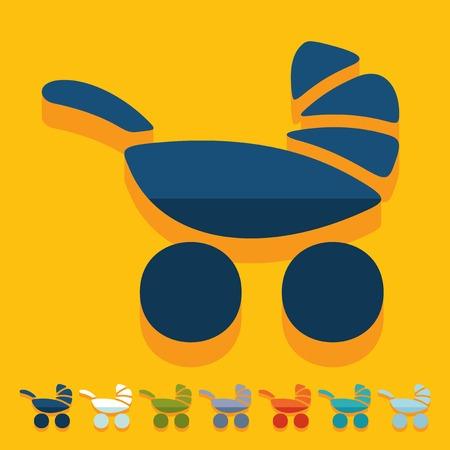 maneuverability: Flat design: baby buggy Illustration