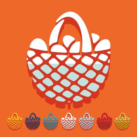 easter basket: Flat design: easter basket
