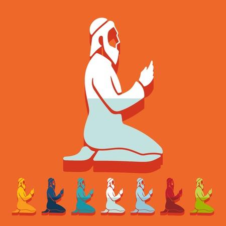 muslim pray: Flat design: muslim