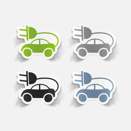 eco car: realista elemento de dise�o: coche ecol�gico Vectores