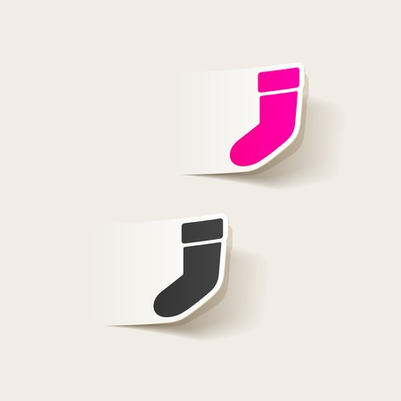 christmas sock: realistico elemento di design: calza di Natale
