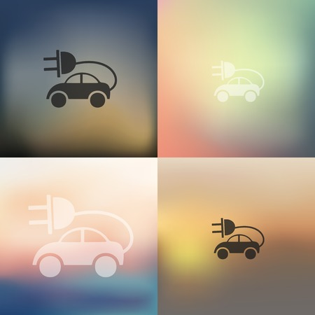 eco car: eco car icon on blurred background