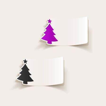 realistico elemento di design: l'albero di Natale Vettoriali