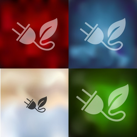environmental analysis: eco plug leaf icon on blurred background