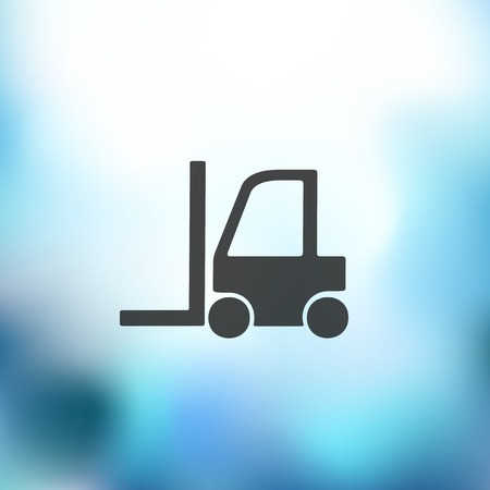 warehouse forklift: icono de montacargas sobre fondo borroso
