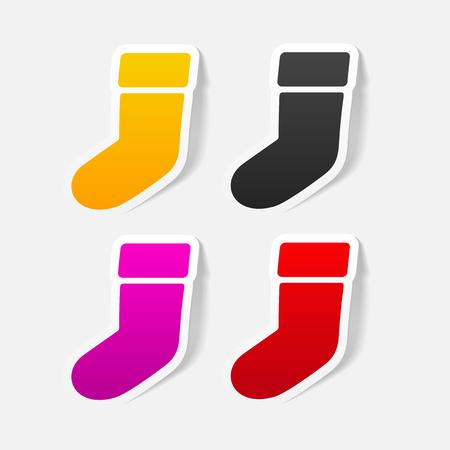 christmas sock: realistic design element: christmas sock