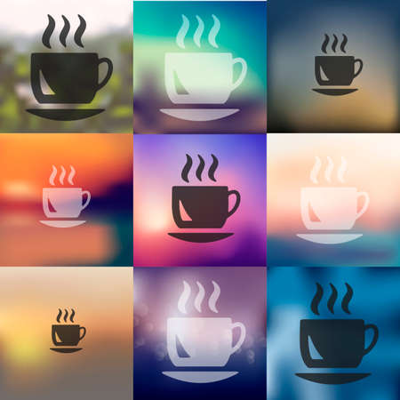 soluble: coffee icon on blurred background Illustration