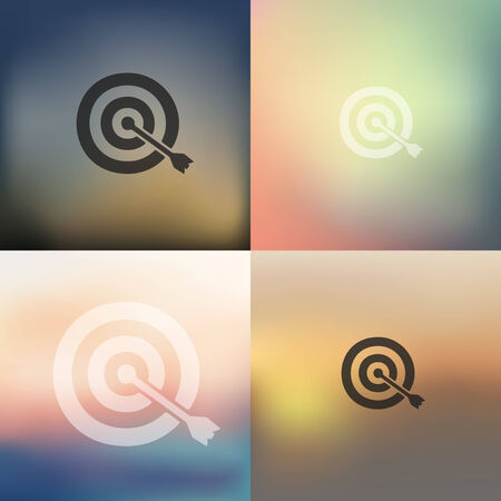 purposefulness: target icon on blurred background Illustration