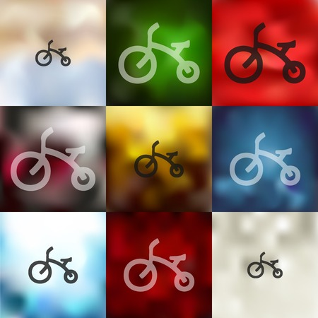 childrens bike icon on blurred background