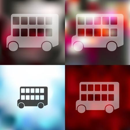decker: bus double decker icon on blurred background