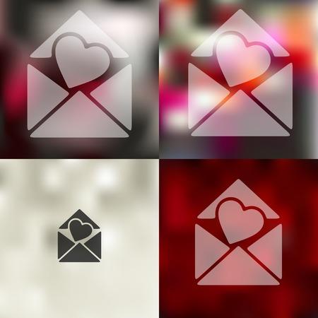 seducer: envelope icon on blurred background Illustration