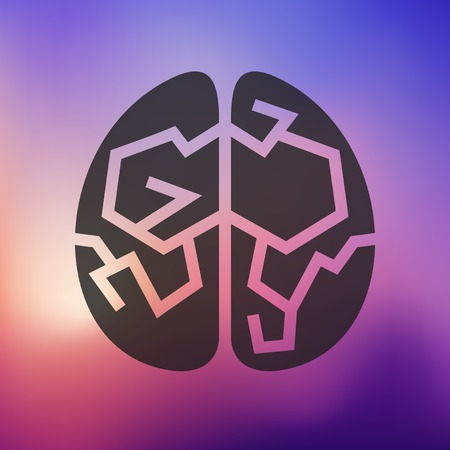 on the comprehension: brain icon on blurred background Illustration