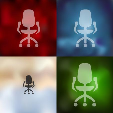 sedia ufficio: sedia da ufficio icona su sfondo sfocato