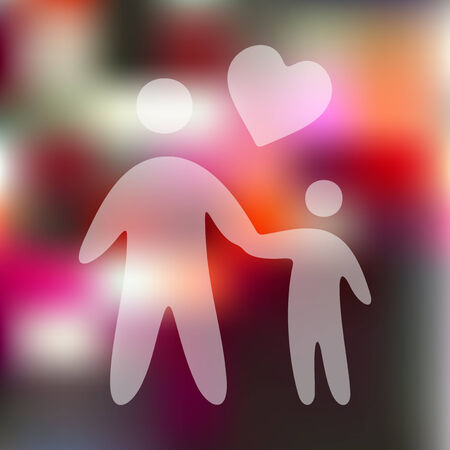 conjugal: family icon on blurred background Illustration