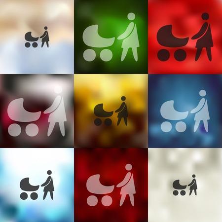 socialization: family icon on blurred background Illustration