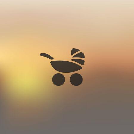 maneuverability: baby buggy icon on blurred background Illustration