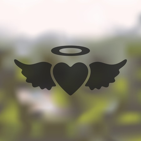virtue: heart angel icon on blurred background