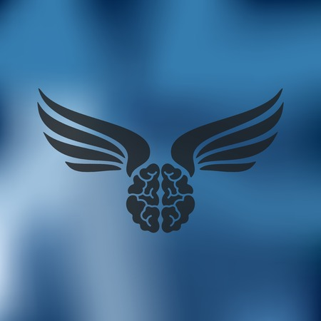 pacification: brain icon on blurred background Illustration