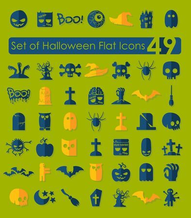 Set of halloween flat icons Vector