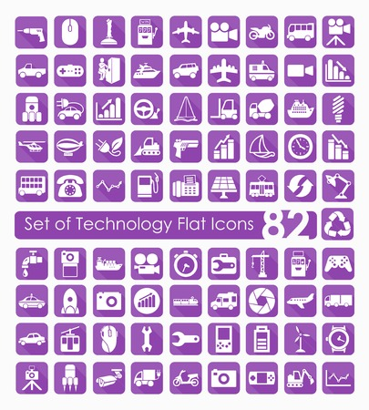 complex system: Set of technology icons Illustration