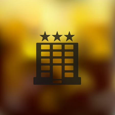 reservation: hotel icon on blurred background