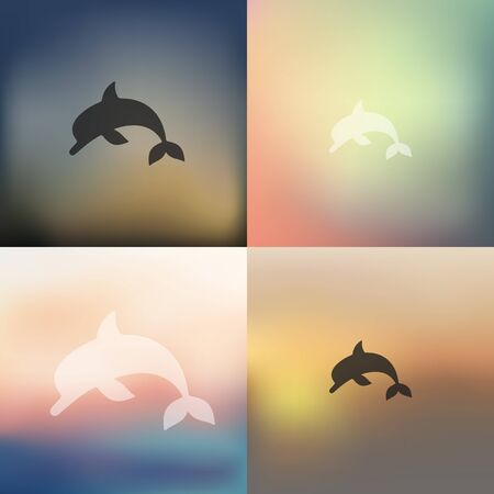 viviparous: dolphin icon on blurred background
