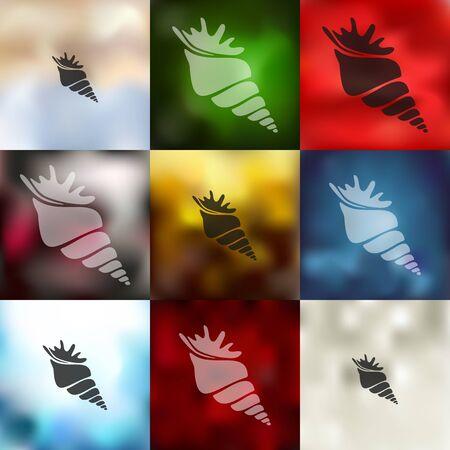 invertebrate: shell icon on blurred background