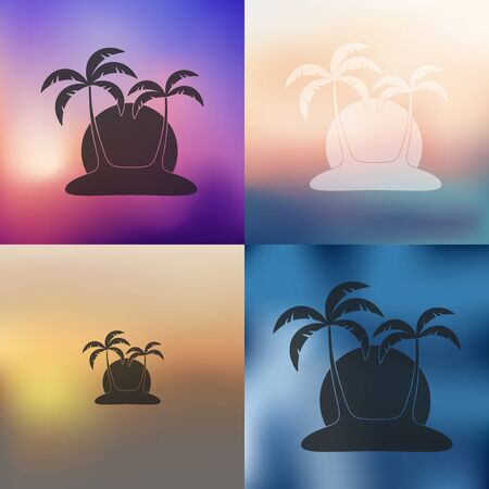 subtropics: palm icon on blurred background