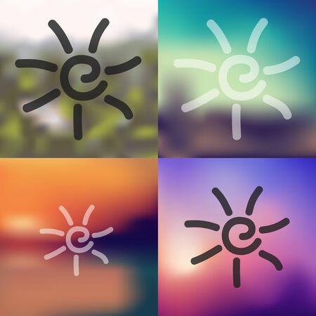 sun icon on blurred background
