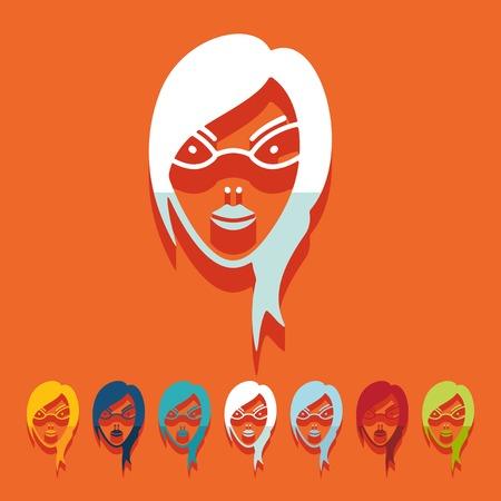 egghead: Flat design: face girl