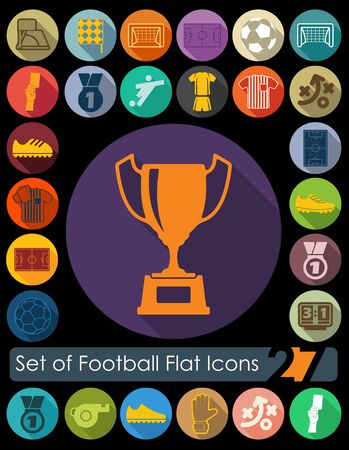 penalty flag: Set of football flat icons