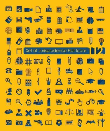 legal document: Set of jurisprudence icons Illustration