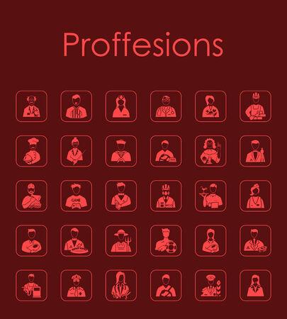 merchandiser: Set of professions simple icons Illustration