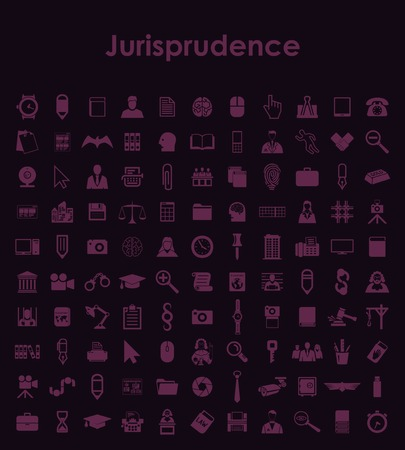 Set of jurisprudence simple icons Vector