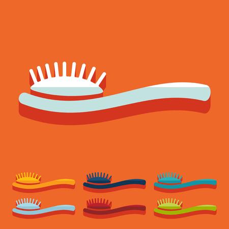 combing: Flat design: hair brush