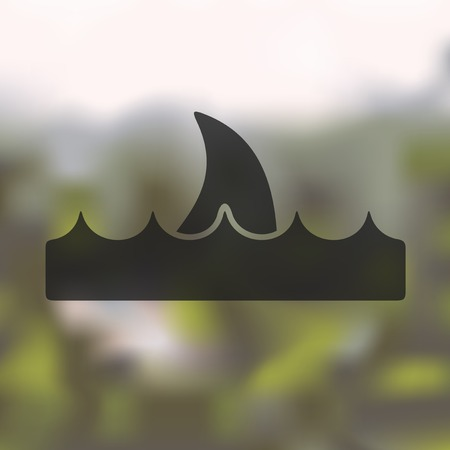 pitching: shark icon on blurred background