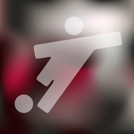 the football player: jugador de f�tbol icono en el fondo borroso